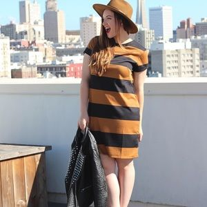 H&M Brown and Black Striped Dress